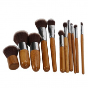 Besmall 11 pcs Bamboo Wooden Handle Makeup Cosmetic Eyeshadow Foundation Concealer Brush Set Pouch - XLPQ26
