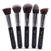 Nanshy 5 Piece Kabuki Makeup Brush Set - Face Application Contouring Blending Liquids Creams Mineral Powders -Onyx Black Kit