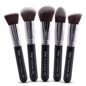 Nanshy 5 Piece Kabuki Makeup Brush Set - Face Application Contouring Blending Liquids Creams Mineral Powders -Onyx Black Kit
