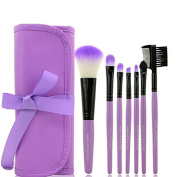 Homgaty Portable 7Pcs Make Up Brushes Makeup Cosmetic Brush Kit Set Tools With Pouch Case Purple