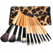 KINGSO 12Pcs Makeup Brush Set Foundation Blusher Face Powder Cosmetic Kit Wooden Handle Leopard Case