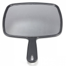 KINGSO Hand Held Hair dressing Salon Barbers Hairdressers Paddle Mirror Tool with Handle Black Make Up Hairdressing Kit