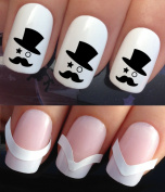 NAIL DECALS WATER TRANSFERS STICKERS ART SET #384 & 172. **plus x48 nail tip guides!!** x24 BLACK MR MOUSTACHE TOP HAT MAN TATTOO WRAPS & x48 FRENCH MANICURE TIP GUIDES! CAN BE USED WITH NATURAL GEL ACRYLIC STICK ON NAILS! OR WITH GLITTER DUST CAVIAR B ..