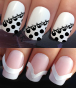 WATER NAIL TRANSFERS DECALS STICKERS ART SET #380 & 172. **plus x48 nail tip guides!!** x12 BLACK POLKA DOT SPOTS FRENCH MANICURE LACE SPOTTY TIPS TATTOO WRAPS & x48 FRENCH MANICURE TIP GUIDES! CAN BE USED WITH NATURAL GEL ACRYLIC STICK ON NAILS! OR WI ..