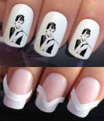 WATER NAIL TRANSFERS DECALS STICKERS ART SET #367 & 172. **plus x48 nail tip guides!!** x24 AUDREY HEPBURN TATTOO WRAPS & x48 FRENCH MANICURE TIP GUIDES! CAN BE USED WITH NATURAL GEL ACRYLIC STICK ON NAILS! OR WITH GLITTER DUST CAVIAR BEADS ALLOYS DECO ..