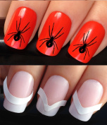 HALLOWEEN NAIL DECALS WATER TRANSFERS STICKERS ART SET #363 & 172. **plus x48 nail tip guides!!** x24 BLACK SPIDER TATTOO WRAPS & x48 FRENCH MANICURE TIP GUIDES! CAN BE USED WITH NATURAL GEL ACRYLIC STICK ON NAILS! OR WITH GLITTER DUST CAVIAR BEADS ALL ..