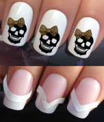 HALLOWEEN NAIL DECALS WATER TRANSFERS STICKERS ART SET #345 & 172. **plus x48 nail tip guides!!** x24. FASHION SKULL WITH LEOPARD CHEETAH ANIMAL PRINT HAIR BOW TATTOO WRAPS & x48 FRENCH MANICURE TIP GUIDES! CAN BE USED WITH NATURAL GEL ACRYLIC ..
