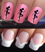 NAIL DECALS WATER TRANSFERS STICKERS ART SET #323 & 172. **plus x48 nail tip guides!!** x24 SEXY POLE LAP DANCER DANCING SILHOUETTE TATTOO WRAPS & x48 FRENCH MANICURE TIP GUIDES! CAN BE USED WITH NATURAL GEL ACRYLIC STICK ON NAILS! OR WITH GLITTER DUST ..