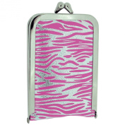 TOC Ladies - Girls Funky Pink & Silver Zebra Print Case 4 Piece Manicure Set SC854