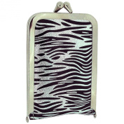 TOC Ladies - Girls Funky Black & Silver Zebra Print Case 4 Piece Manicure Set SC853