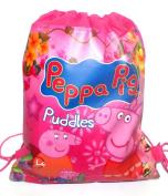 Kids Cartoon Character Double Print Drawstring PE Shoe Swimming Bag Gym Nursery Backpack Peppa