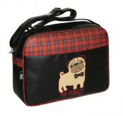 David & Goliath Despatch Messenger Shoulder Bag Pug Face Tartan Bow Black Back To School