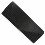 Elegant Classic Black Satin Foldover Baguette Clutch Bag and Purse
