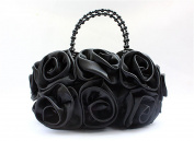 Eleoption Satin Silk Rose Flower Bridal Wedding Evening Handbag Party Clutch