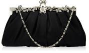 Womens Floral Satin Crystal Evening Clutch Bag (22cm x 14cm) with PreciousBags Dust Bag