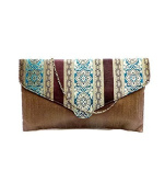 Bhamini Women's Raw Silk Clutch With Traditional Design Flap