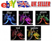 LED SHOE LACES IN DIFFERENT colours : GREEN, RED, YELLOW, ORANGE, BLUE, PINK, YELLOW/ GREEN, BLUE/PINK, GREEN/PINK, MULTICOLOR