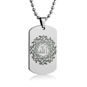 Allah And Muhammad Necklace Pendant 60cm inch Stainless Steel Ball Chain with Giftpouch and Keyring