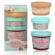 Cream Tea Body Gift Set - Bath Shower Gel, Body Cream & Scone Sponge