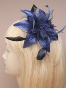 Navy Blue Fascinator on comb