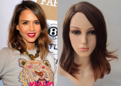 Deluxe Jessica Alba Ombre Midi Brown Blonde Heat Resistant Celebrity Fashion Wig