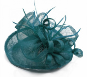 Teal Mesh Feather Hat Fascinator with PreciousBags Dust Bag