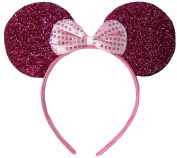 Hot Pink Sparkly Minnie Mouse Ears Fancy Dress Headband