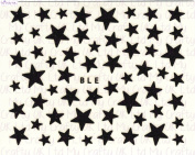 Black Glitter Star Adhesive Nail Stickers Art