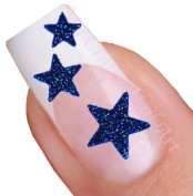Blue Glitter Star Adhesive Nail Stickers Art
