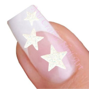 White Glitter Star Adhesive Nail Stickers Art