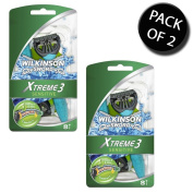2x Wilkinson Sword 70057090 Mens Xtreme 3 Sensitive Disposable Razor 8s