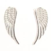 Sterling Silver Angel Wing Design Stud Earrings