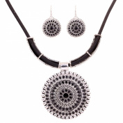 Yazilind Tibetan Silver Round Flower Pendant Bib Statement Necklace Earrings Set