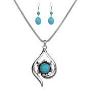 Turquoise and Silver Earring and Necklace Set
