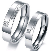 """JewelryWe 2pcs His & Hers Stainless Steel """"Endless Love"""" Promise Ring Set Mens Womens Anniversary Engagement Wedding Bands (with Gift Bag). Please Email Sizes"""