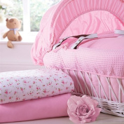 Izziwotnot Jersey Cotton Fitted Sheet, Pink, Moses Basket, 2 Pack