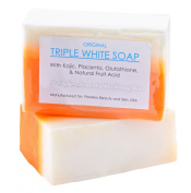 soft and smooth skin whitening lightning KOJIC ACID, PLACENTA, & GLUTATHIONE TRIPLE WHITE SOAP Cleanse deeply exfoliating dead skin