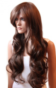 PRETTY Fashion Lady Wig Long Hair Cosplay Curled Wavy (BROWN CHOCOLATE) Heat-Resistant
