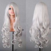 HuntGold 1X Long Wavy Wigs New Fashion Hairpiece Bang Curly Full Wig high-temperature Line 80CM