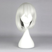 springcos 35cm Silver White Short Straight Hair Wig with Bang Cosplay TOUKEN