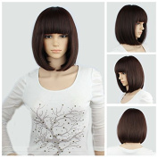 "eNilecor Short Hair Wig 14"" 36cm Straight Flat Bang Short Bob Hair Candy Colour Cosplay Wigs Natural As Real Hair+ Free Wig Cap"