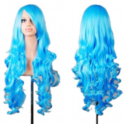 """Rbenxia 32"""" 80cm Long Hair Heat Resistant Spiral Curly Cosplay Wig with Free Wig Cap"""