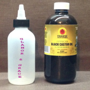 Tropic Isle Jamaican Black Castor Oil 240ml with a hands-free Twist Top Closure Applicator.