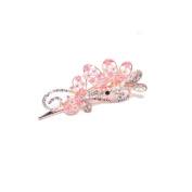 YMX Women's Vintage Crystal Rhinestone Flower Shape Clip Rose