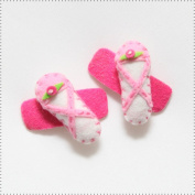 Best of Chums Baby Hair Accessories - Ballerina Slippers Plush Felt Hair Clip