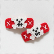 Best of Chums Baby Hair Accessories - Skulls Felt Applique Hair Clip