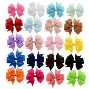 Skhls 20pcs 7.6cm Girls Windmill Ribbon Hair Bow Clips