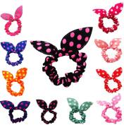 Buyinheart@ Wholesale Cute Women's Dot Rabbit Ear Hair Bow Tie Bands Chiffon Ponytail Holder