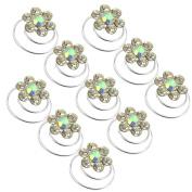 10x Bridal Wedding Party Crystal Rhinestone Flower Spiral Twist Clips Hair Pins