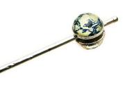 Tamarusan Blue Flower Pattern Japanese Hair Stick Pin Handmade Nickel Free Headdress Clip Hair Stick Decorative